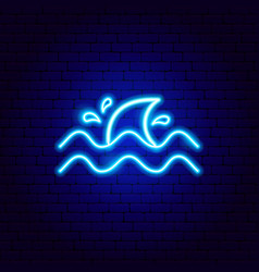 shark fin neon sign vector image