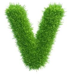 Small grass letter v on white background vector