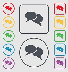 Speech bubble icons Think cloud symbols Symbols on vector image
