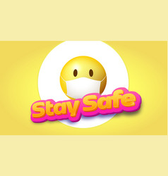 stay safe yellow emoji in face mask volumetric vector image