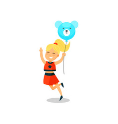 sweet little girl with balloon in the shape of vector image
