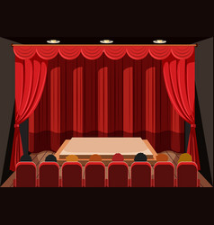 Theatre with red curtains vector