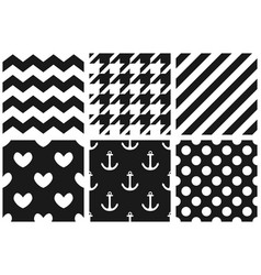 Tile pattern set with chevron zig zag polka dots vector
