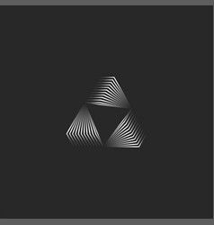 triangle logo creative 3d portal shape black and vector image
