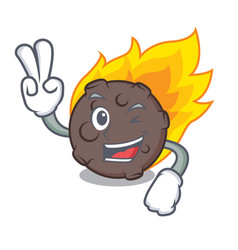 Two finger meteorite character cartoon style vector