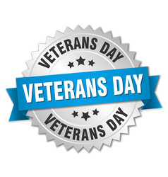 veterans day round isolated silver badge vector image
