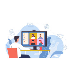 video conference man at desk provides collective vector image