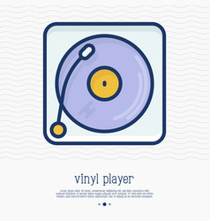 Vinyl player record thin line icon vector