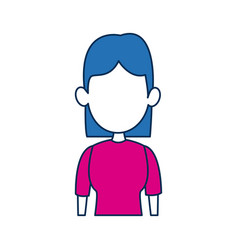 woman avatar female blue hair fuchsia clothes in vector image