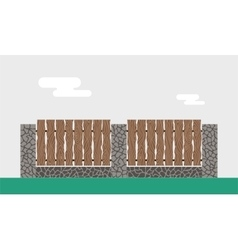 Wooden and stone fence isolated on night vector