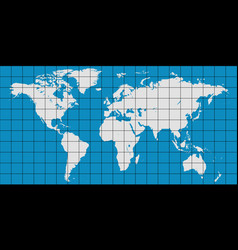 World map with coordinate grid vector
