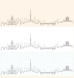 Wuhan hand drawn skyline vector