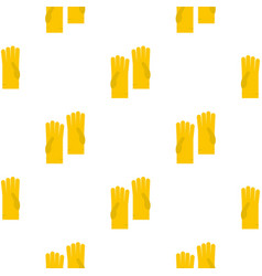 Yellow rubber gloves pattern flat vector