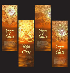 Yoga banner set with mandala vector