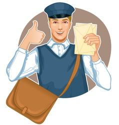 Young postman in a postman uniform with a letter a vector