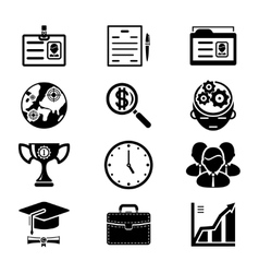 Black Silhouette Business Icons Set vector image