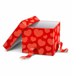 cardboard box with hearts vector image vector image