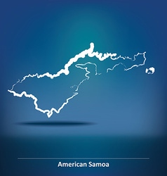 Doodle Map of American Samoa vector image vector image