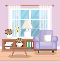 living room scene icon vector image vector image