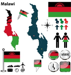 Malawi map vector image