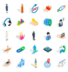 workforce icons set isometric style vector image