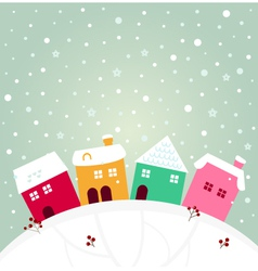 Colorful winter village on the top of hill vector image vector image