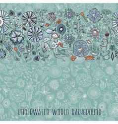 hand drawn underwater world background vector image