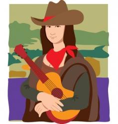 Mona Lisa cowgirl vector image vector image