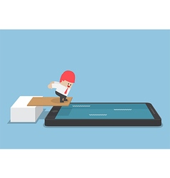 Businessman jump into smartphone pool vector image