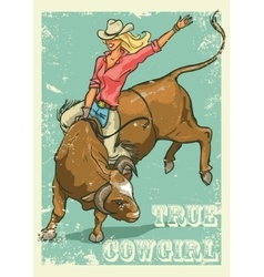Rodeo Cowgirl riding a bull Retro style Poster vector image vector image