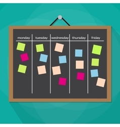 Scrum task board hanging on wall vector image