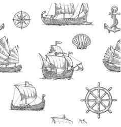 trireme caravel drakkar junk set sailing ships vector image vector image