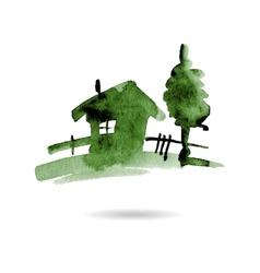 Watercolor hand drawn village house vector