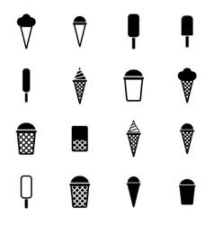 black ice cream icon set vector image vector image