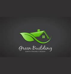 eco friendly green house logo design vector image
