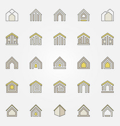 house colorful icons vector image vector image