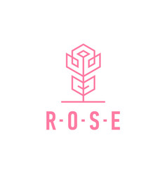 rose linear logo pink flower icon template vector image