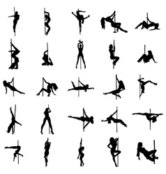 Stripper silhouette set vector image