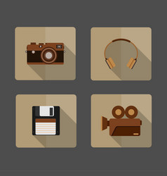4 icons camera headphone diskette movie vector image