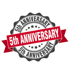 5th anniversary stamp sign seal vector