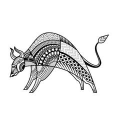 abstract buffalo hand drawn design vector image
