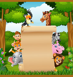 Animals with paper blank sign in forest vector