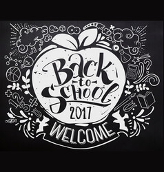 Back to school chalkboard with doodles vector