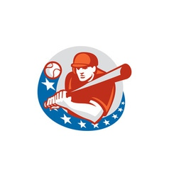Baseball Player Batter Stars Circle Retro vector image