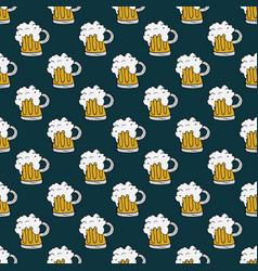 beer mug seamless pattern hand drawn doodle vector image