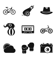 bike ride icons set simple style vector image