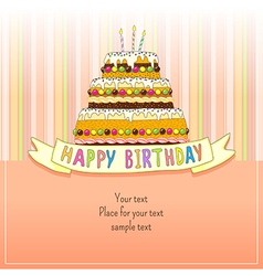 birthday cake card vector image