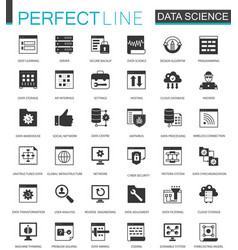 Black classic data science data analysis icons vector