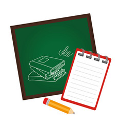 Board school with notebook and pencil vector