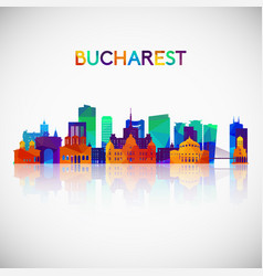 bucharest skyline silhouette in colorful vector image